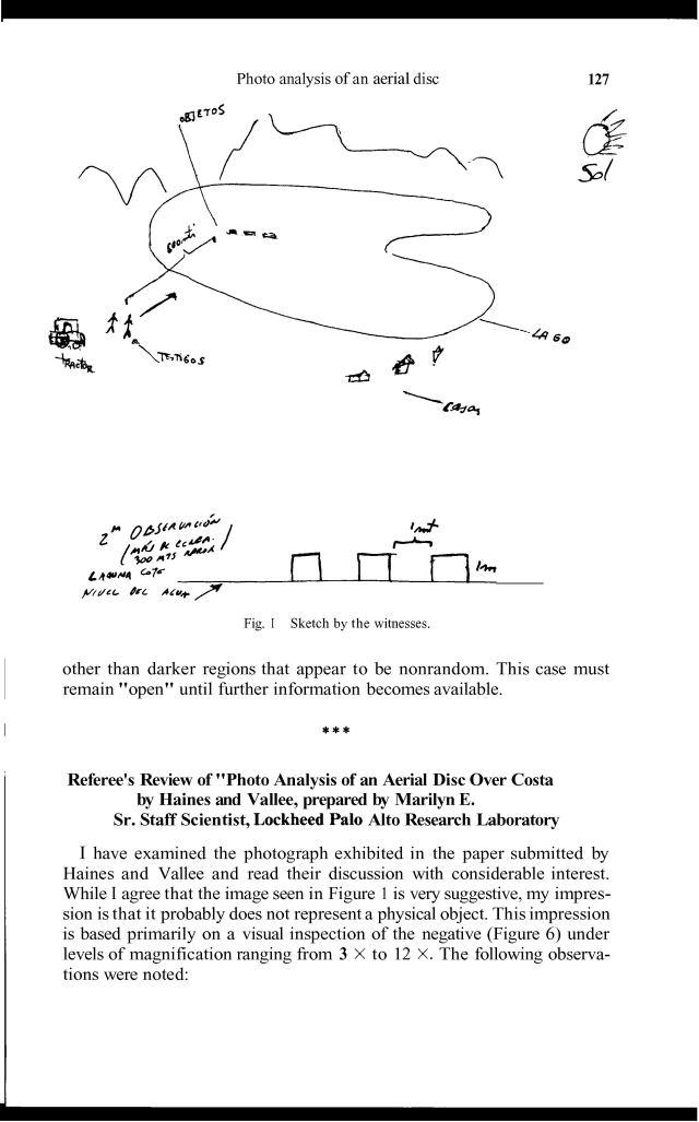 Dibujo de testigos del nuevo avistamiento, según Vallé